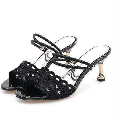 GTVERNH Mode Chaussures femme 7Cm Talons Hauts des des Sandales des Fleurs D'été Vidée avec Une Ceinture Orteils Cool Les Pantoufles Deux Portes Trente - Quatre noir  excellent prix
