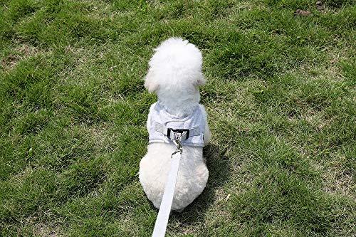 QOOBE犬ハーネスリードセットハーネス小型犬中型犬犬用リードペットハーネス猫用ハーネス犬胴輪メッシュソフト軽量簡単着脱おしゃれ通気性いいチワワ可愛い犬散歩ランニングスウェット風三色(S,グレー)