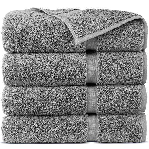 Indulge Linen 100% Cotton Turkish Towel Set (Gray, Bath Towels - Set of 4)