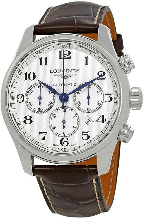 Orologio longines master collection cronografo automatico quadrante bianco mens watch l2.859.4.78.3