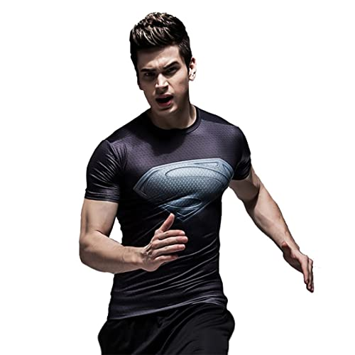 IdeaBox Men s Compression Shirt Super Hero Short Sleeve Workout Fitness  Shirt 75714adc9