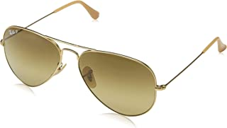 RB3025 Aviator Large Metal Polarized Sunglasses, Matte Gold/Polarized Brown Gradient, 55 mm