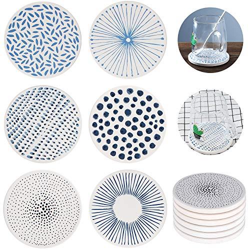 Coolty 6 Stück Saugfähige Untersetzer, Keramik Untersetzer mit Korkrücken für Tassen Tisch Bar Glas