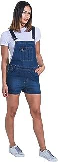 USKEES Ladies Denim Dungaree Shorts - Palewash Bib-Shorts Overalls Shortalls