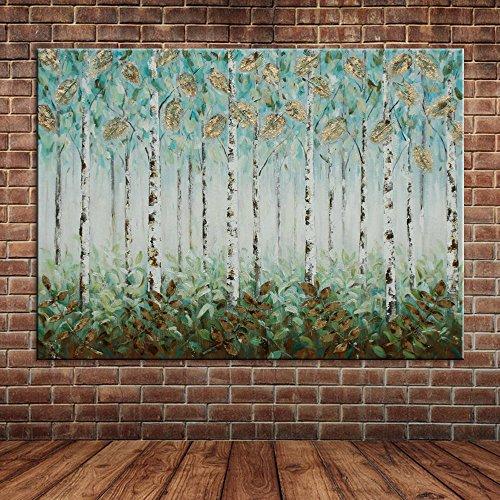 IPLST@ Stagnola dorata Alberi Foglie pittura a olio Blu foresta ,Tela Opera parete Decorazione Quadro dipinto a mano -24x36inch(Nessuna cornice, senza barella)