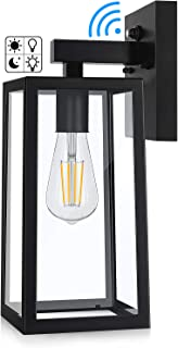 Dusk to Dawn Sensor Outdoor Wall Sconce, Exterior Wall Lantern Fixture with E26 Base Socket, Wall Mount Lights Anti-Rust Waterproof Matte Black Wall Lamp with Clear Glass Shade for Garage, Doorway