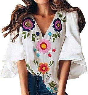 Loyomobak Womens V-Neck Tee Print Ruffle Sleeve Tops Blouse Shirt