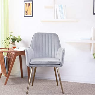 GOLDEN BEACH Elegant Velvet Dinning Chair Mid-Back Support Accent Arm Chair Modern Leisure Upholstered Chair with Gold Plating Legs (Gray)