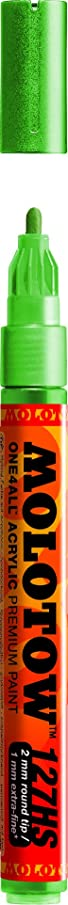 Molotow ONE4ALL Acrylic Paint Marker, 2mm, Metallic Green, 1 Each (127.304)