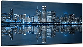 LevvArts Modern City Wall Art Chicago Downtown at Night Pict