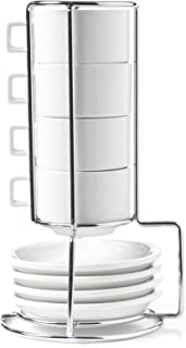 HUJI Stack-able Porcelain 3.2 OZ Espresso Turkish Coffee Cups and Saucer Set with Chrome Rack (9 Piece Set) (1)
