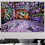 KWzEQ Graffiti Abstracto Lienzo Pared Arte Cartel Cartel y Artista de Grabado decoración del hogar,Pintura sin Marco,45x78cm
