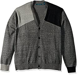 Perry Ellis Mens Big and Tall Colorblock V-Neck Cardigan