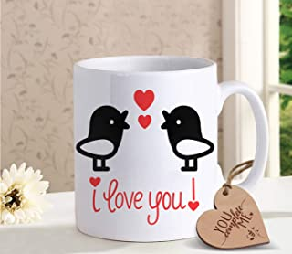 TIED RIBBONS Best Birthday, Anniversary Gift for Husband Wife - Romantic Gift for Him or Her - Coffee mug for Boyfriend Girlfriend with Wooden Tag