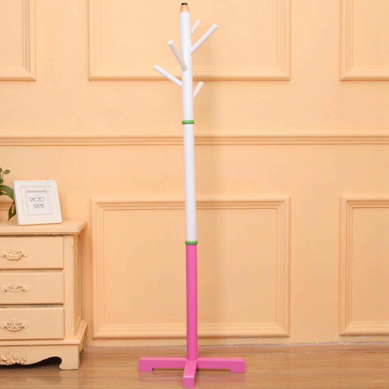 Solid Wood Floor Hangers Interior Bedroom Living Room Creative Clothes Rack Racks Shelves Shelves (color   Pink)