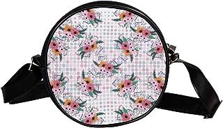 Coosun Umhängetasche mit schönem Blumenmuster, rund, Schultertasche, Handtasche für Kinder und Damen