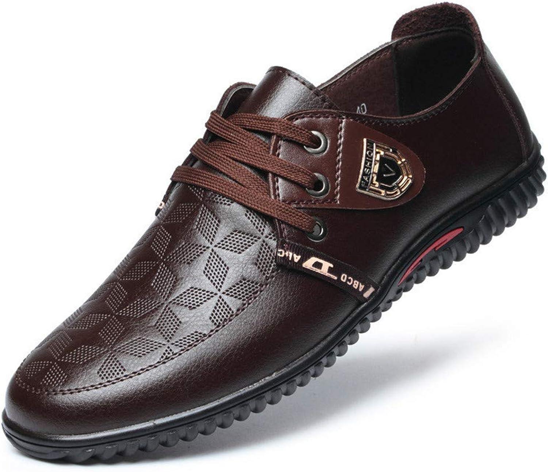 ZHRUI Men Casual shoes Spring Lace up Comfort Breathable Leather Fashion Mens Leisure shoes (color   Brown, Size   6.5=40 EU)