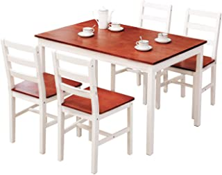 Mecor 5 Piece Wood Dining Table Set, Kitchen Table w/ 4...