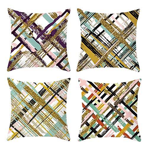 AmDxD Juego de 4 fundas de almohada cuadradas de poliéster de 50 x 50 cm, diseño de graffiti, color blanco, dorado y rosa