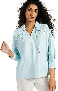 ALFANI Womens Light Blue Collared Top AU Size:22
