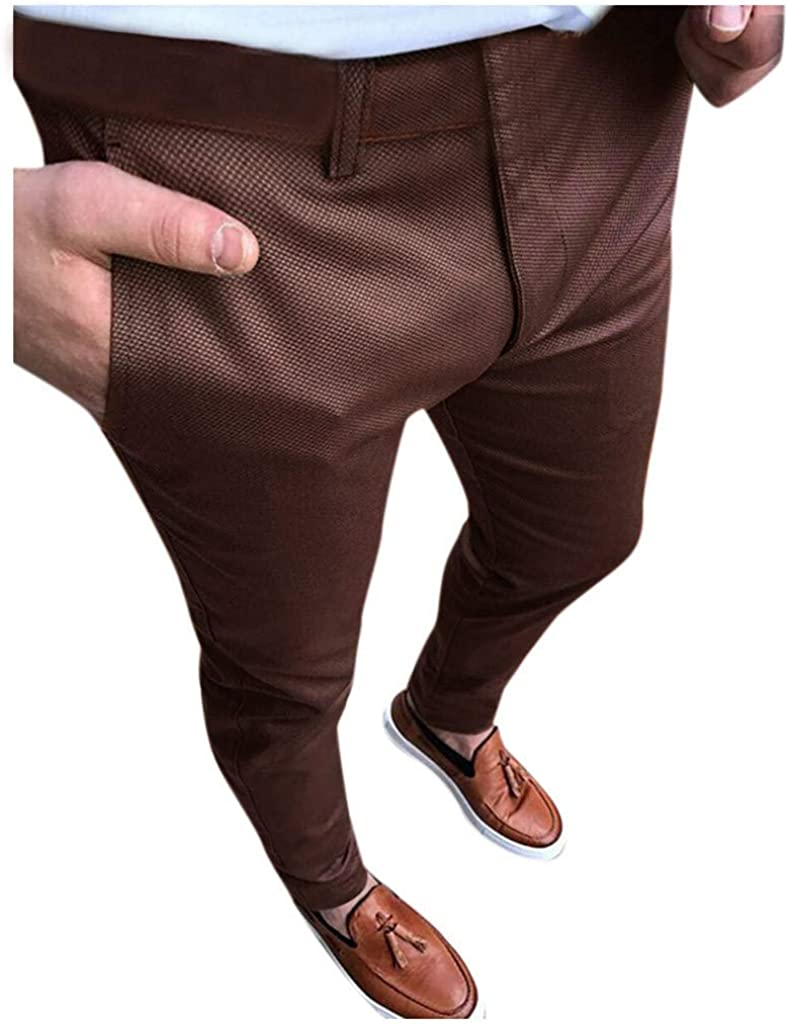 Burband 2021 Mens Chino Pants Slim Fit Stretch Skinny Dress Pants Casual Fit Flat Front Business Trousers Fashion Tuxedo