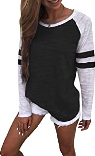Women's Striped Tunic Tops for Women Casual Color Block Short/Long Sleeve T Shirt Blouse for Legging Sweater Loose Fit