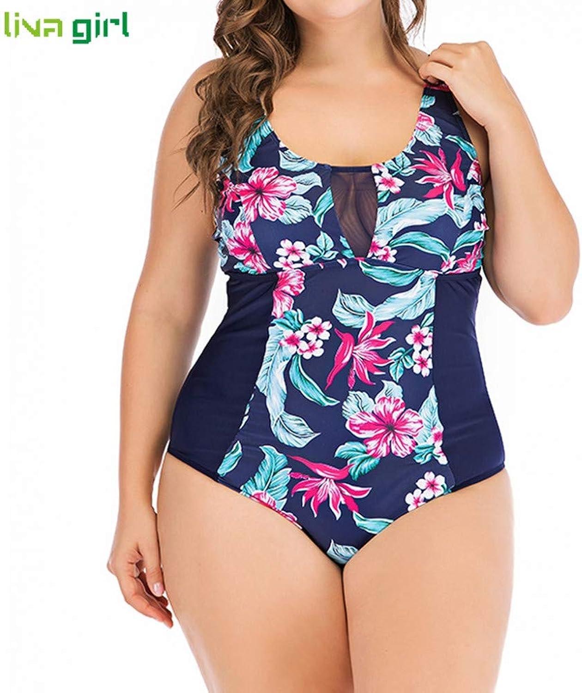 LMSHM Damen Bademode Damen Plus Größe Einteilige Anzüge Gepolsterter Badeanzug Strand Push Up Badeanzug
