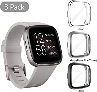 Seltureone (3 Pack) Compatible for Fitbit Versa 2 Screen Protector Case, Full Body Cover Scratch Resistant Shock Absorbing Ultra Slim Protective for Fitbit Versa 2 Cases (Clear,Black,Gray)