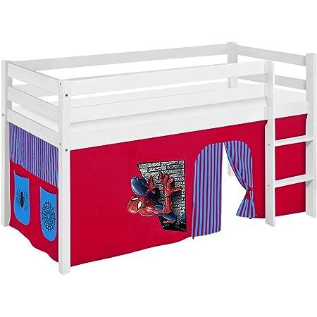 Lilokids Lit de jeu JELLE 90 x 190 cm Spiderman – Certifié TÜV & GS – Blanc – Lit mezzanine avec rideau et sommier à lattes