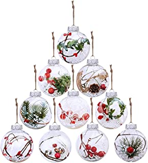 10 Pcs Christmas Bulb Ornament Balls Clear Plastic Glass Ball Craft Baubles Ornaments Fillable Unbreakable Shatterproof Hanging Tree Ornaments Snow Berry Pine Filling Ornaments 3.14