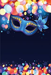 EdCott 6x9ft Blau Maskerade Maske Hintergrund Bokeh Dots Karneval Hintergrund für Fotografie Vinyl Halloween Party Kostüm Ball Poster Photo Booth Requisiten