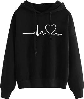 Sudadera para Mujer,riou Sudadera con Capucha Adolescentes Chica Estampado Amor Manga Larga Tops Suéter Abrigo Jersey Muje...