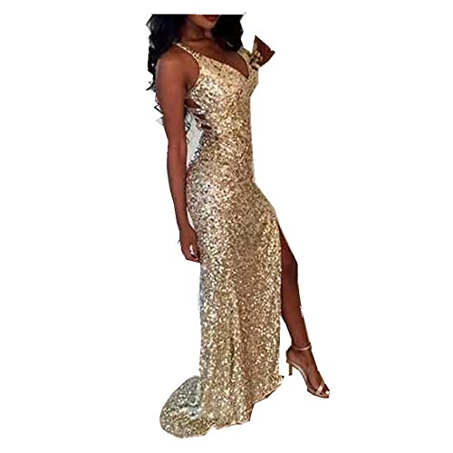 1a6eb2d6 Uryouthstyle Sequins V-Neck Prom Dresses Sparkly Split Bridesmaid Gowns  HJ0059