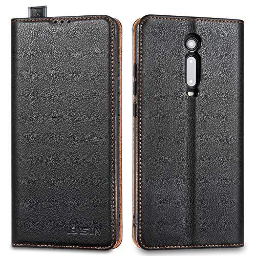 LENSUN Echtleder Hülle für Xiaomi Mi 9T, Xiaomi Mi 9T Pro Leder Handyhülle Magnetverschluss Kartenfach Handytasche kompatibel mit Xiaomi Mi 9T / 9T Pro – Schwarz(M9T-DC-BK)