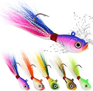XFISHMAN Bucktail Jigs Saltwater Hair Jigs Head Flukes Fishing Lures Assorted Kit for Striped Bass Walleye Snook Rockfish 1/4oz 1/2 oz 1oz 2 oz Pack of 5