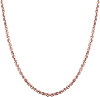Sterling Silver 2mm diamond cut rope chain necklace- Made In Italy