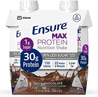 Ensure Max Protein Nutrition Shake, Milk Chocolate 4 Little Cartons (Pack of 2)