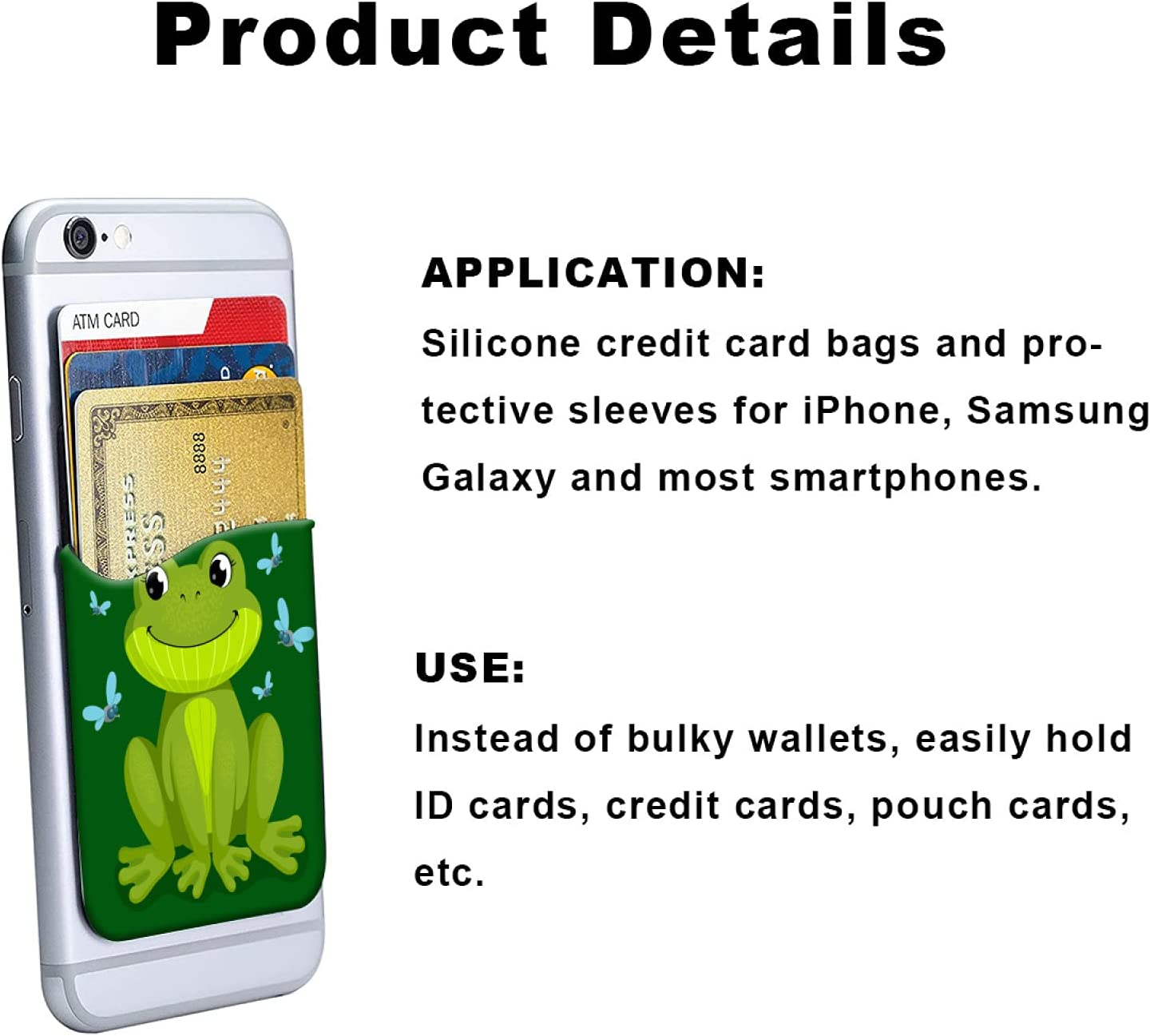 ZXZNC Card Holder for Back of Phone Green Funny Frog Teal Butterfly Leather Phone Pocket Phone Case Credit Business Id Card Holder Sleeve Adhesive Stick Wallet for Back of Cell Mobile Smart Phone