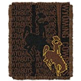 Officially Licensed NCAA Wake Forest Demon Deacons 'Double Play' Triple Woven Jacquard Throw Blanket, 48' x 60', Multi Color, Wyoming Cowboys
