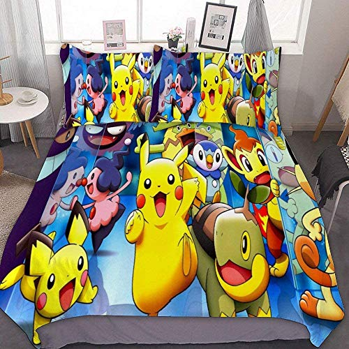 MEW Anime Bedding Duvet Cover Set,Full/Queen (90x90 inch), Pikachu Pichu Piplup,3 Pieces Bedding Set,with Zipper Closure and 2 Pillow Shams, Cute Cartoon Bedroom Comforter Sets for Boys Girls