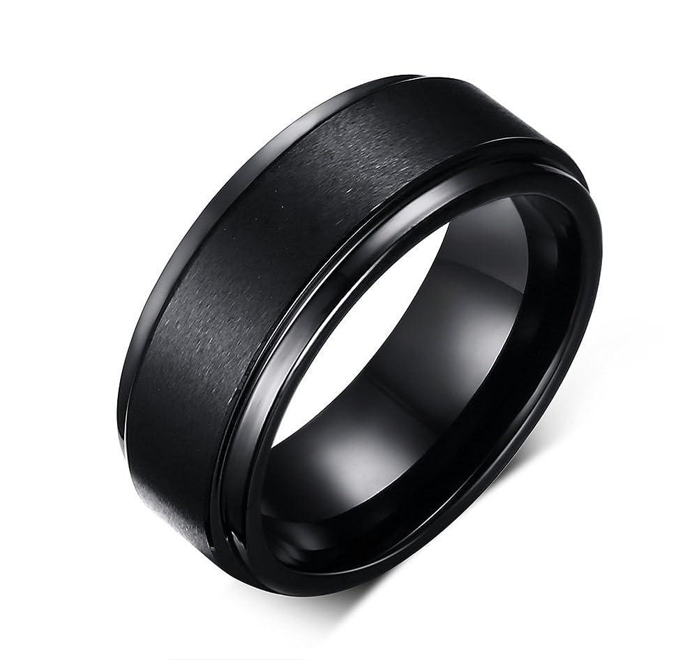 ビーズ喜んでドライRockyu タングステンリング メンズ ブラック シンプル 黒 指輪 8mm 22号