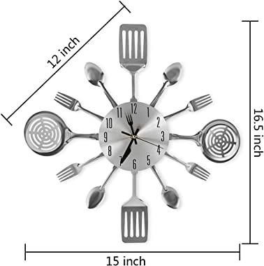 CIGERA 16 Inch Large Kitchen Wall Clocks with Spoons and Forks,Great Home Decor and Nice Gifts,Sliver
