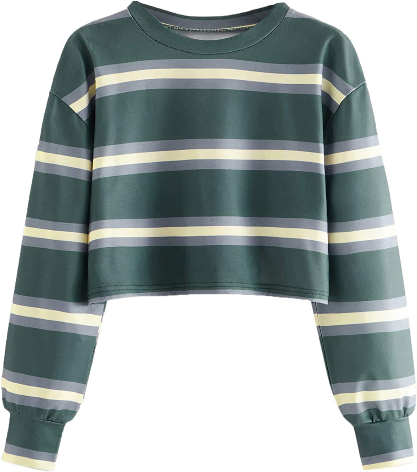 SweatyRocks Selling Women's Casual Long Sleeve T-Shirt Sales for sale Striped C Cropped