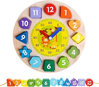 Wooden Shape Color Sorting Clock- Teaching Time Number Blocks Clock Shape Patterns Sorting and Animal Puzzle Montessori Ea...