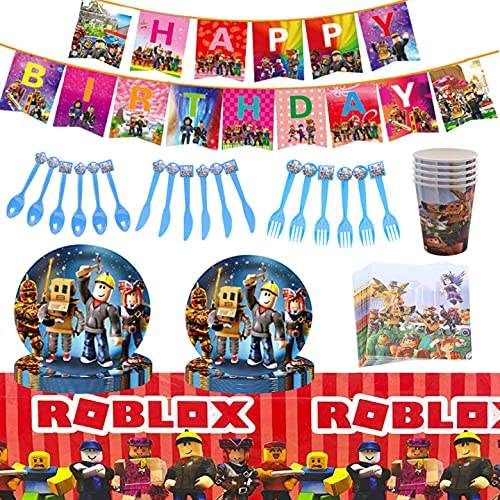 Party Supplies Tableware Set,CYSJ 81pcs Forniture per Feste di Compleanno, Roblox Video Game Birthday Party Supplies and Favors,Game Party Plates,Cups,Napkins,Cutlery, Baby Shower for Kids