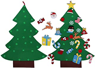 DIY 3ft Felt Christmas Tree Set with Ornaments for Kids, Xmas Gifts, New Year Door Wall Hanging Decorations 26pcs