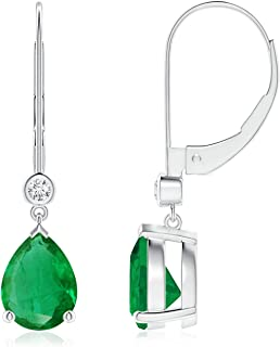 Pear-Shaped Emerald Leverback Drop Earrings with Diamond (8x6mm Emerald)