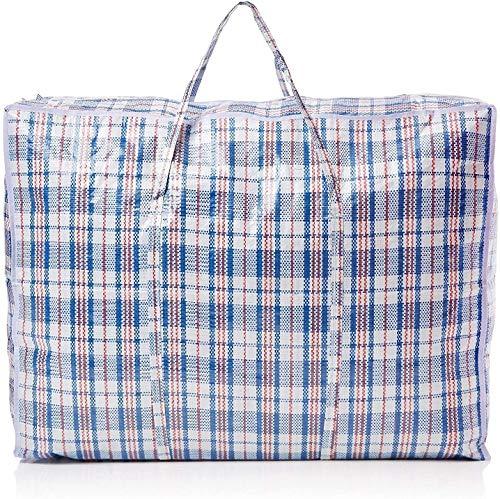 Cxjff Xtra Lot de 5 grands sacs solides et durables pour lessive/shopping/déménagement/rangement zippé et réutilisables, nylon