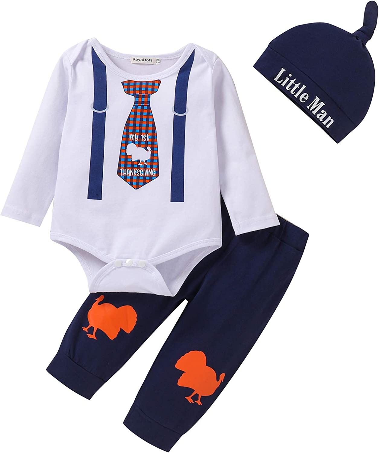 3Pcs Baby Boys Clothes Sets, Cute Pattern Print Romper + Pants + Hat Outfits Set (Long Sleeves Thanksgiving Day 0-3months)