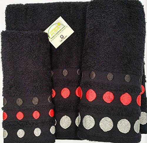 Confort Home M.T (Negro Bolas) REGALITOSTV Juego de Toallas de baño 3 Piezas (1 Toalla de baño, 1 Toallas de Manos y 1 Toalla Cara) 100% algodón, Toallas Ligeras y absorbentes. (Negro)